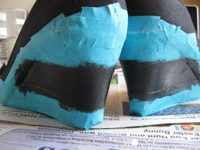 black striped wedge heels