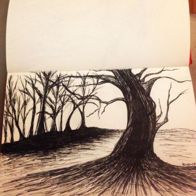 haunted tree drawing inktober