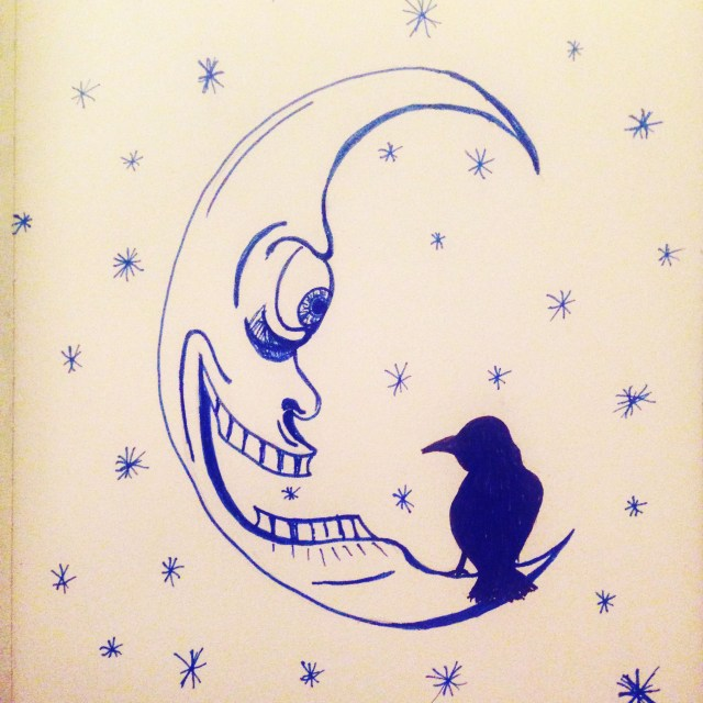 inktober moon crow drawing