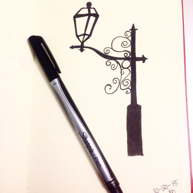 street lamp post inktober drawing