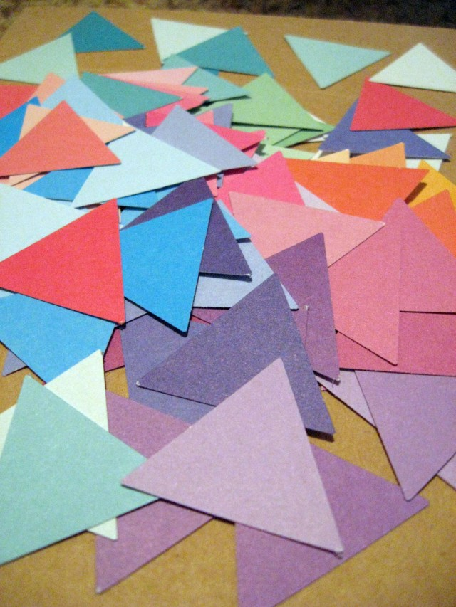 colorful cardstock triangles