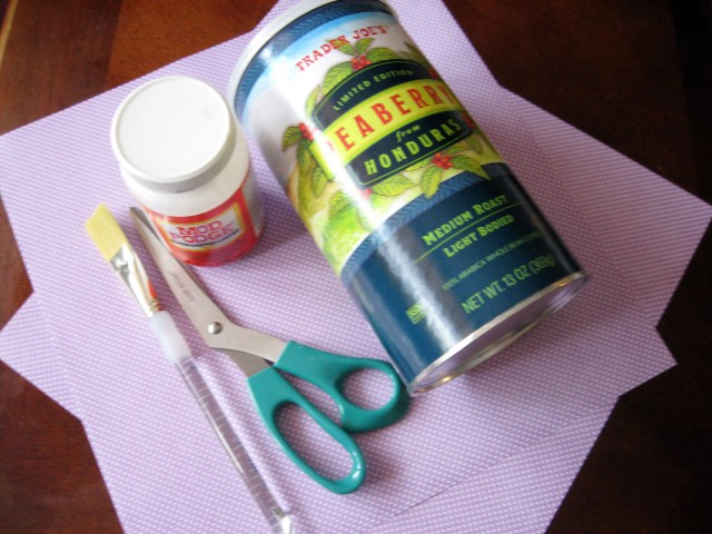 materials used to make DIY upcycled grocery bag storage