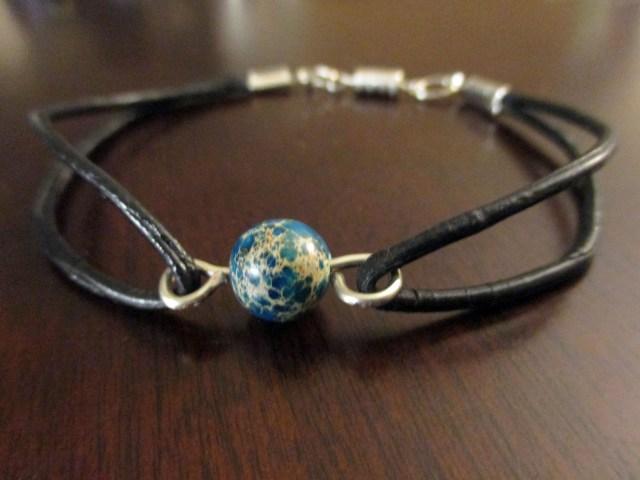 diy leather beaded bracelet