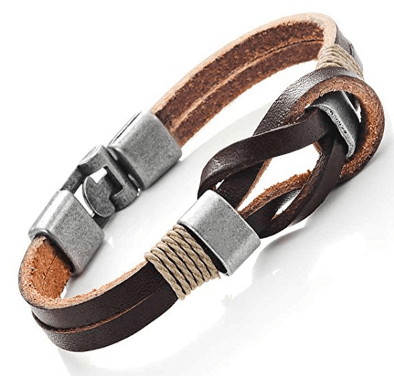 leather knotted bracelet gift