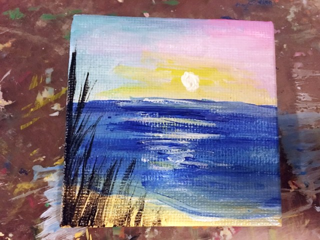 small sunset beach painting