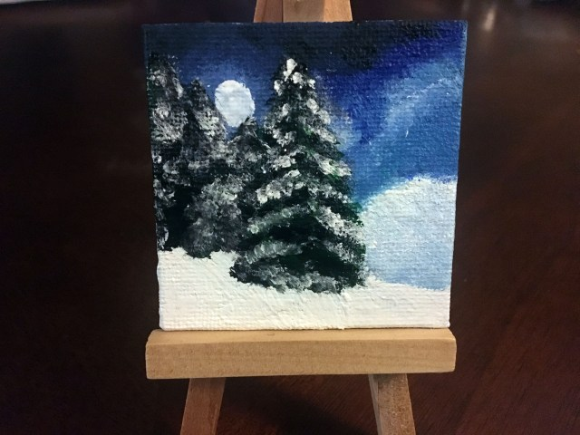 diy mini winter scene painting