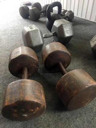 rusty dumbbells