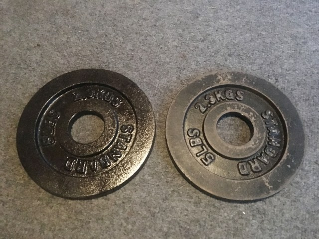 spray painted weight plates