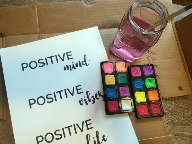 watercolor positive quote poster supplies