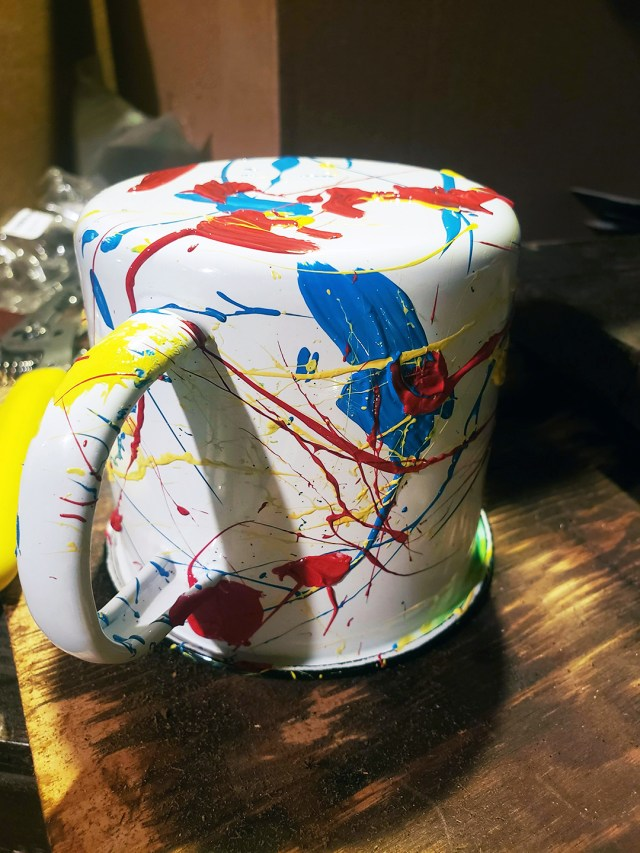 DIY custom painted mug with splatter design