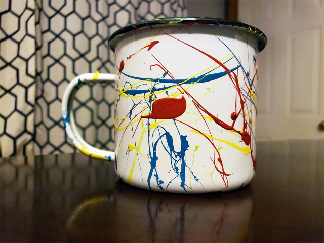 DIY painted enamel mug