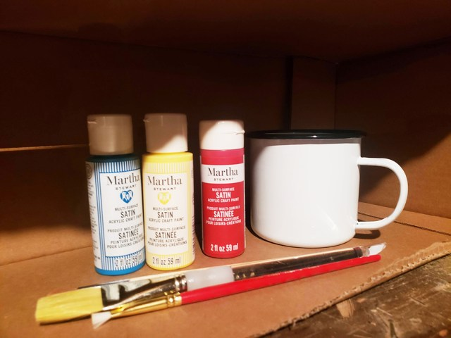 paint splatter enamel mug supplies