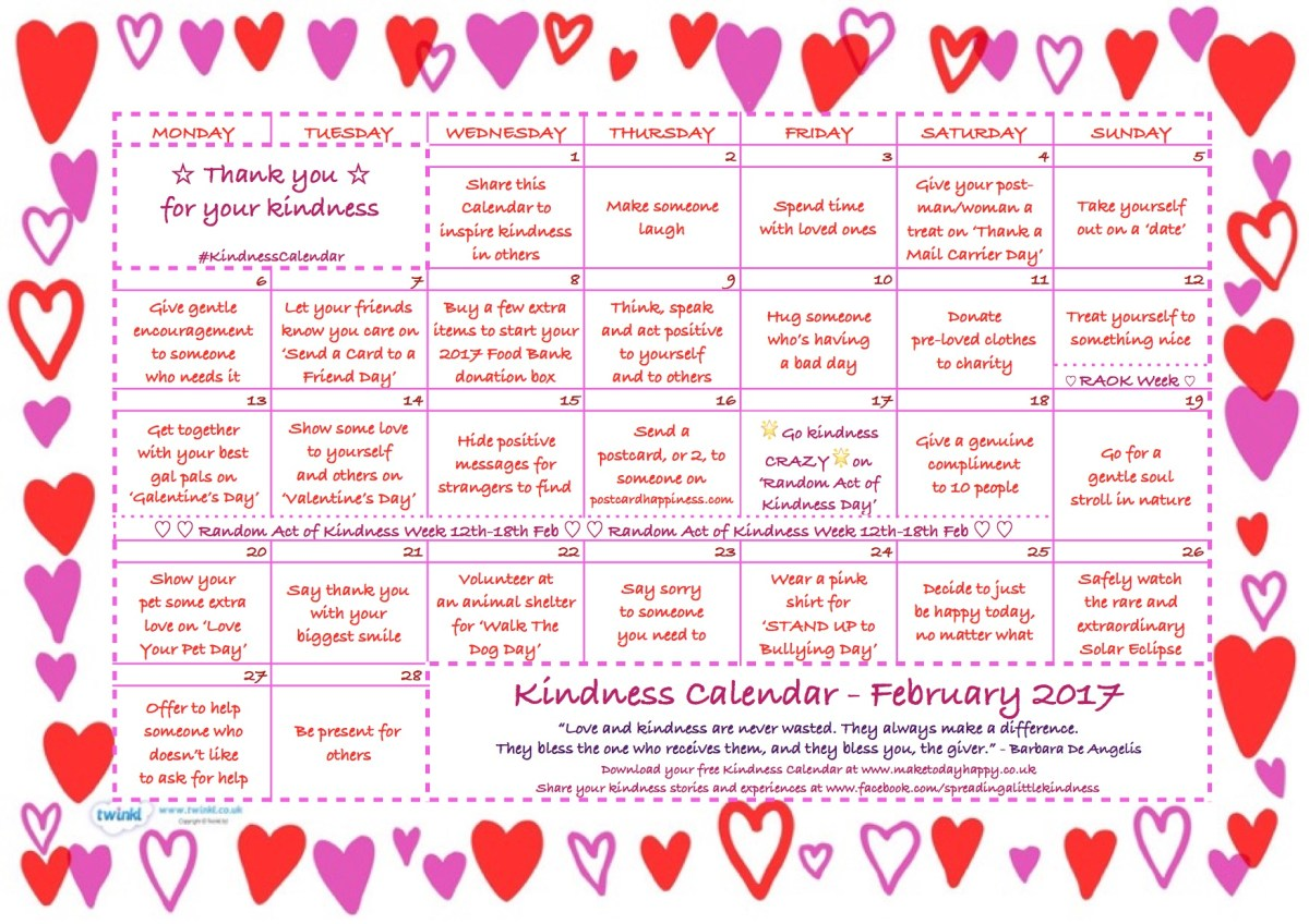 Kindness Calendar – February 2017
