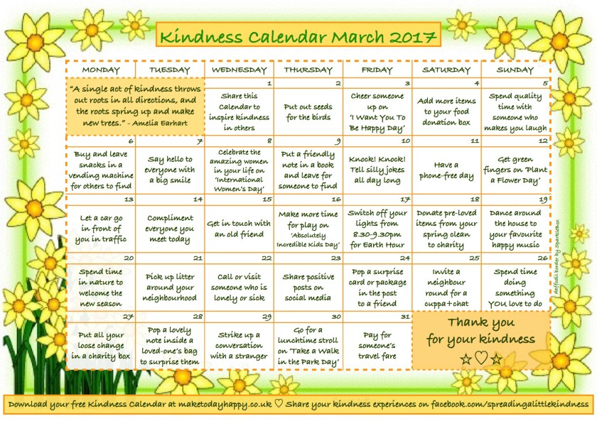 Kindness Calendar March 2017
