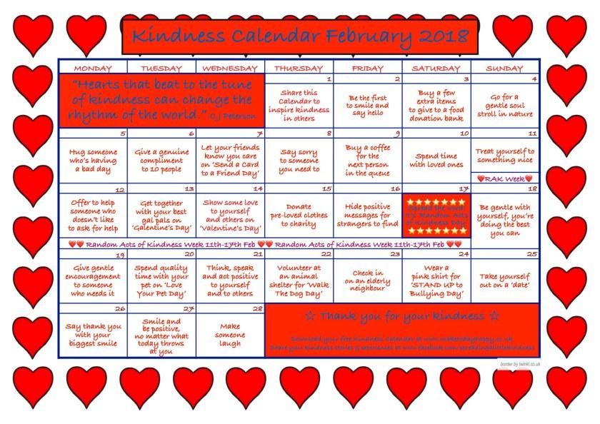 kindness calendar february 2018