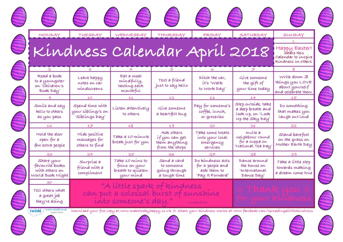 Kindness Calendar: April 2018