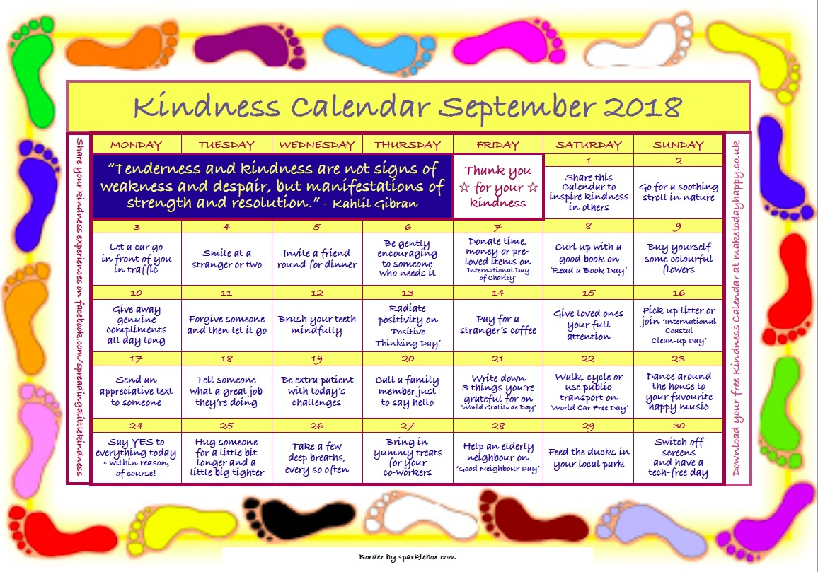 Kindness Calendar: September 2018