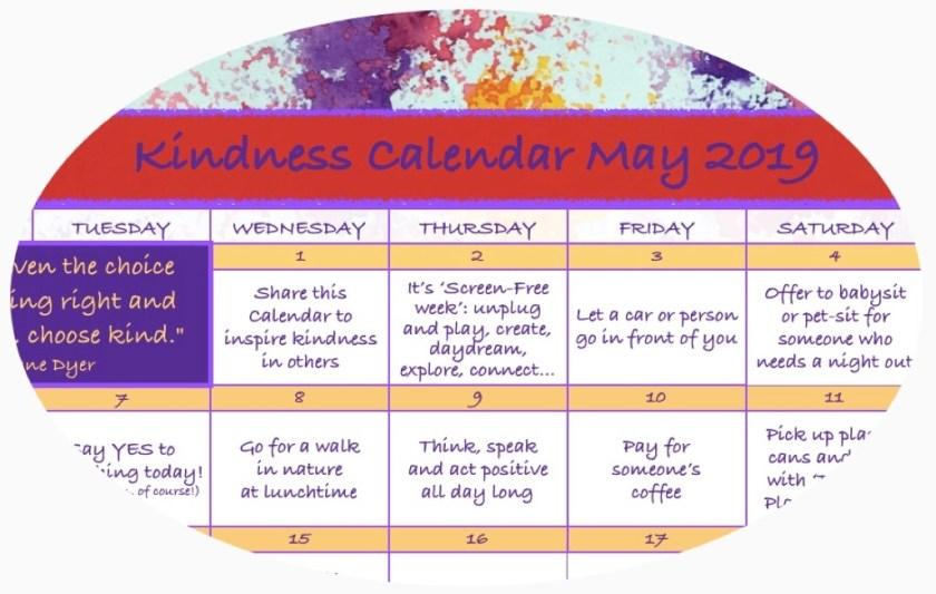 Kindness Calendar May 2019 Circle