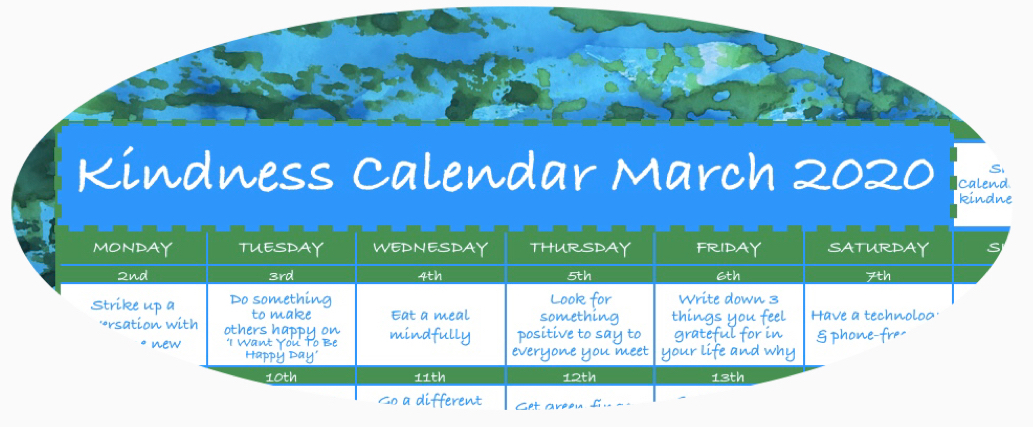 Kindness Calendar March 2020