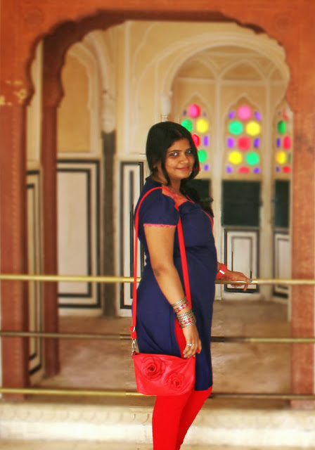 OOTD- Indigo Kurti with Red Churidar