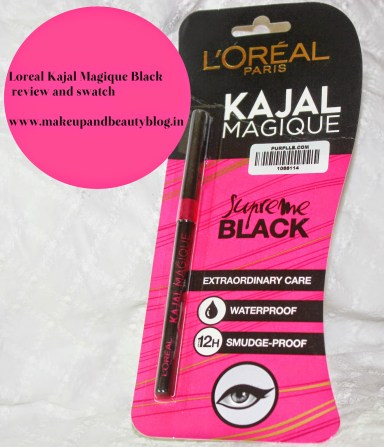 Loreal Kajal Magique Black Review and Swatch