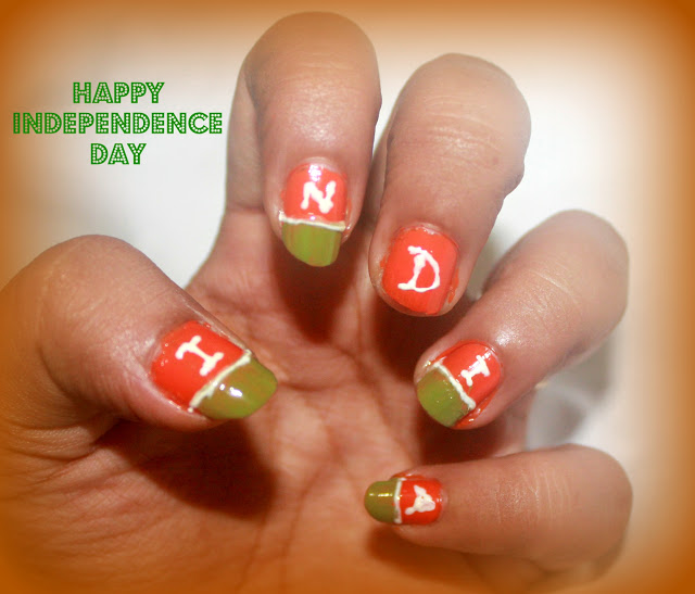 Tricolour Independence Day Nail art + NOTD