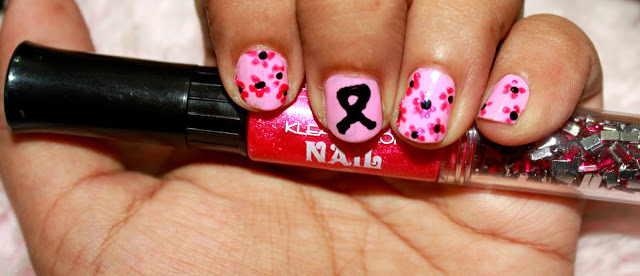 Breast Cancer Awareness Ribbon Nail Art