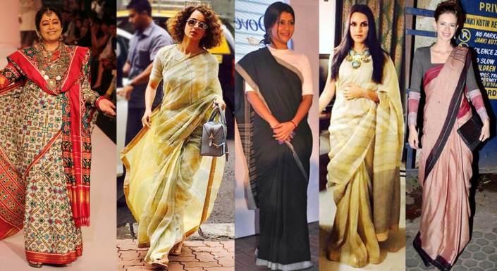 Bollywood Actress In Handloom Sarees