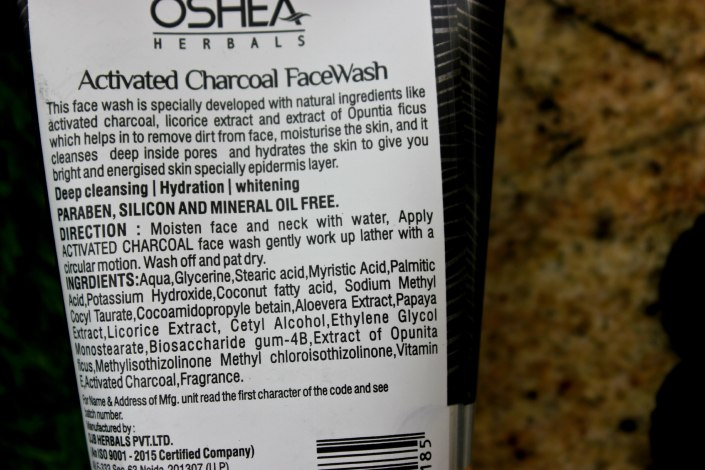 Oshea Herbals Activated Charcoal Face Wash Review