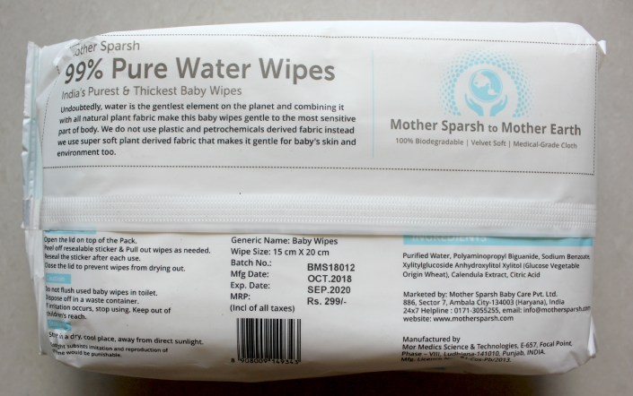Mother Sparsh 99% Pure Water Wipes Review