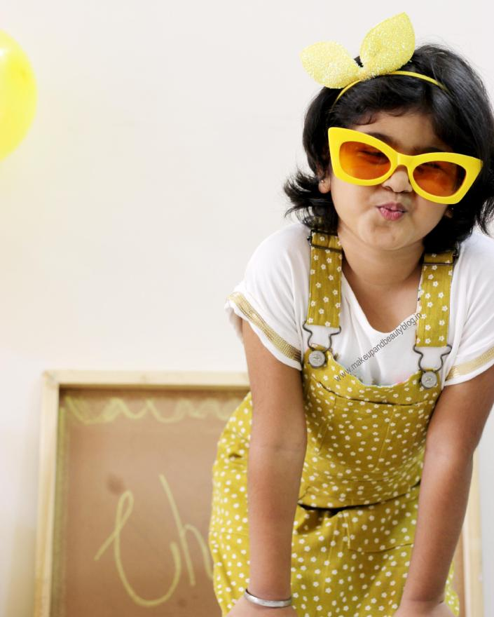 Kids Summer OOTD Mustard Dungaree Dress + Yellow + White - Cherry Crumble