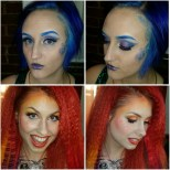 Makeup for Castle Corsetry's Mermaid/Lisa Frank themed photoshoot. Models: Top: Lauren Bregman, Bottom: Traci Hines, Makeup: Myself