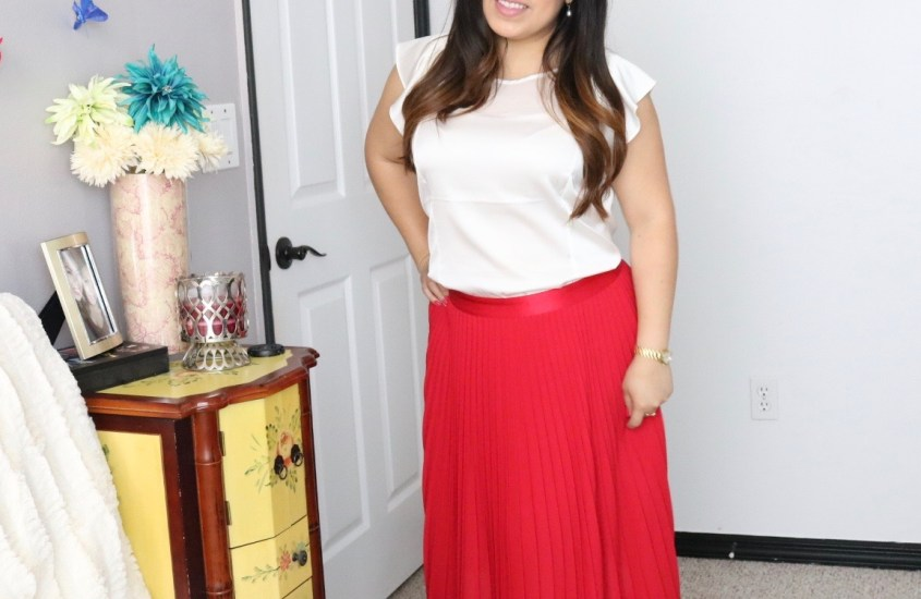 Classic pleated Red skirt Styled