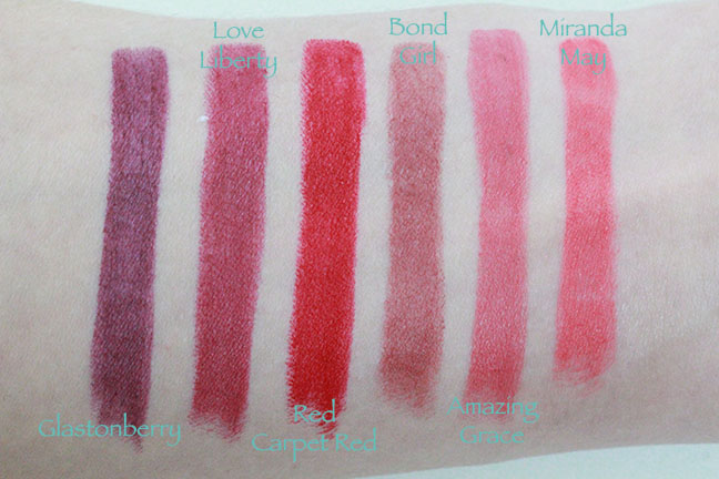 L to R: Glastonberry, Love Liberty, Red Carpet Red, Bond Girl, Amazing Grace & Miranda May (Hot Lips)