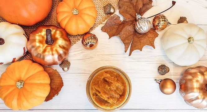 Supercharged fall facial, combine pumpkin with soothing oats, moisturizing coconut oil, and another secret weapon: turmeric.
