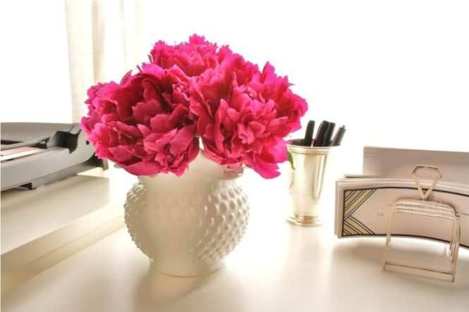 Spring Cleaning Challenge Peonies on Desk