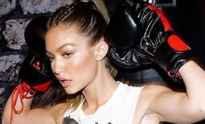 Gigi Hadid Athleisure Makeup Boxing Kickboxing Model Celebrity