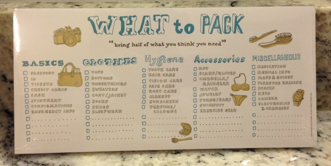 What to Pack Pad