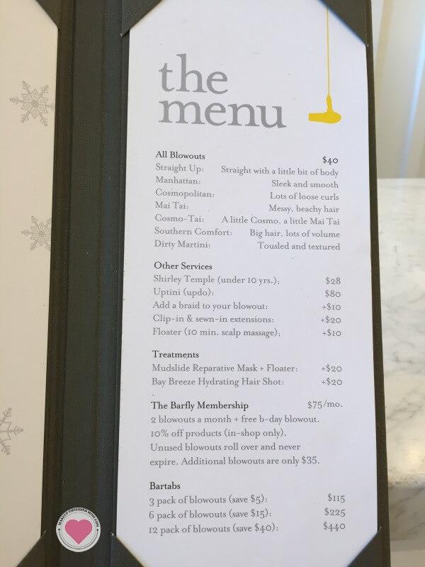 drybar menu