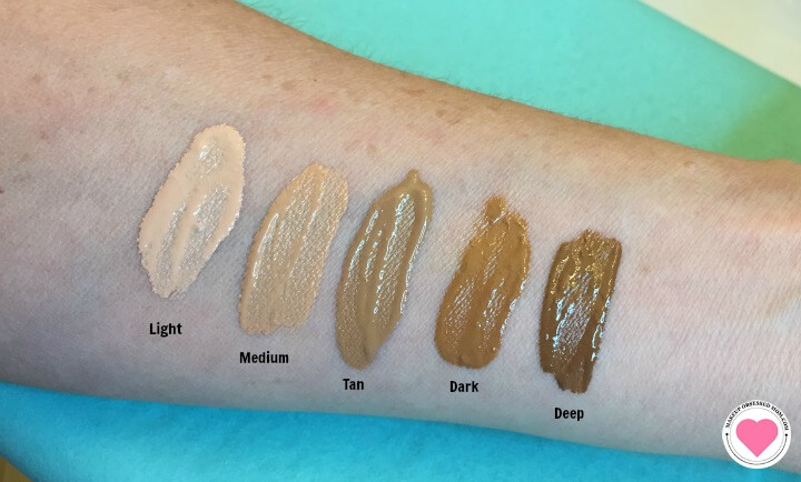 Pur HydraFluid Foundation swatches