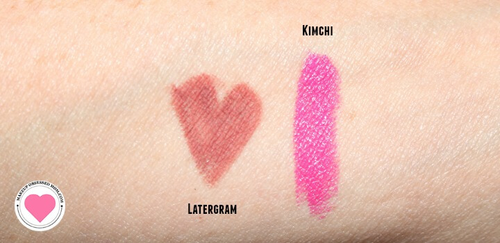 swatches of the lip products