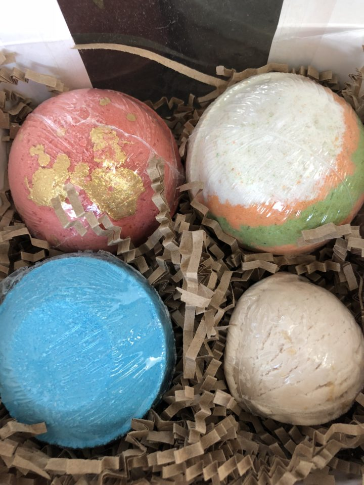 bath bombs, shower steamers and bubble bar