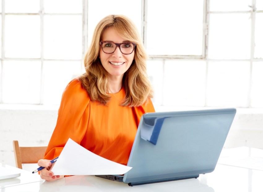 lady at computer