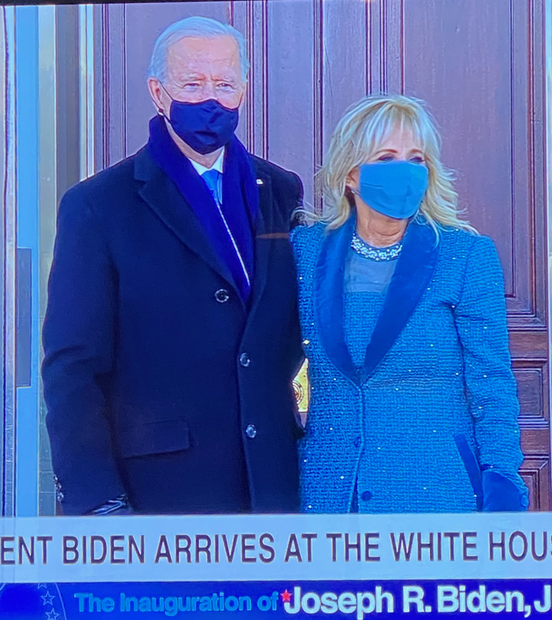 President Biden and first lady matched their masks to their outfits