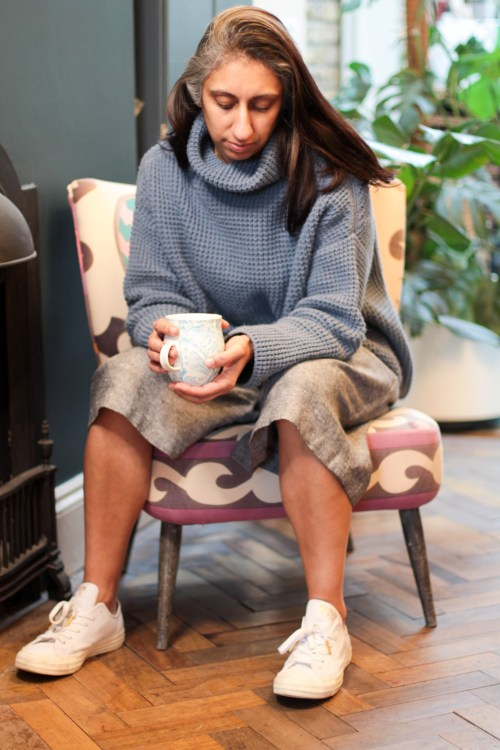 mandi sitting in culottes