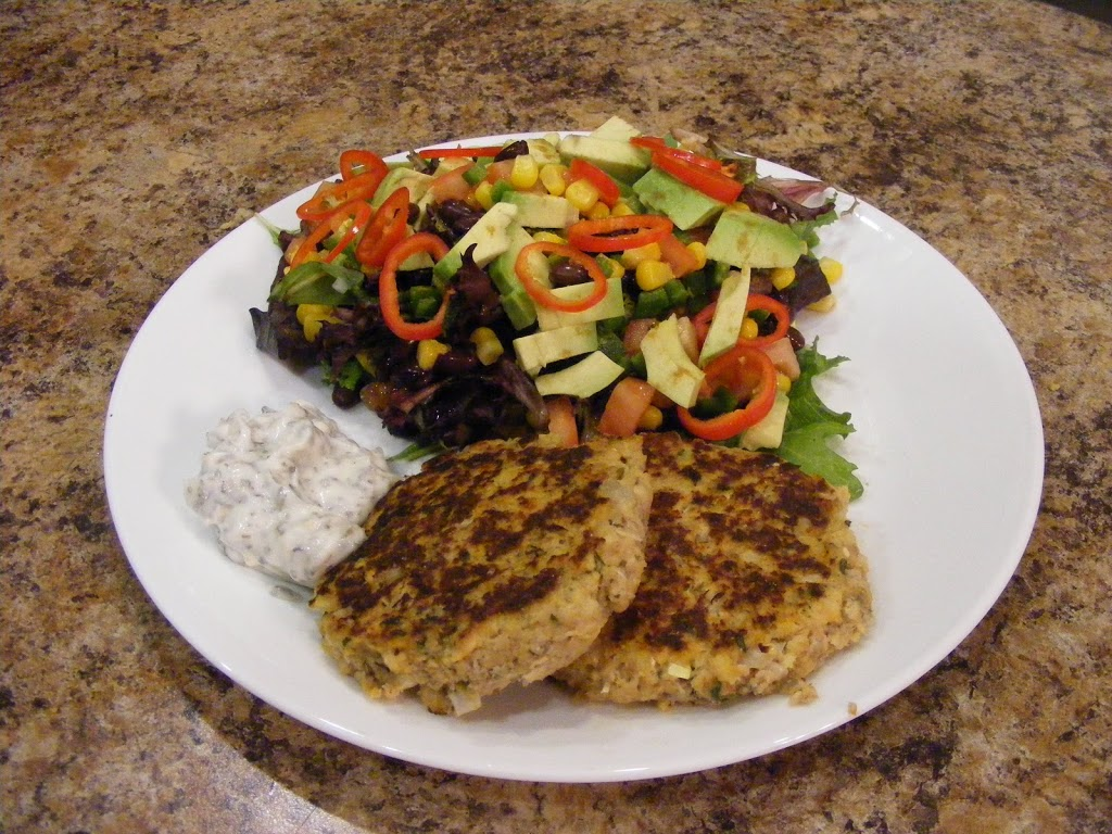 Salmon Patties with Basil Mayo and Mexican Chop Salad