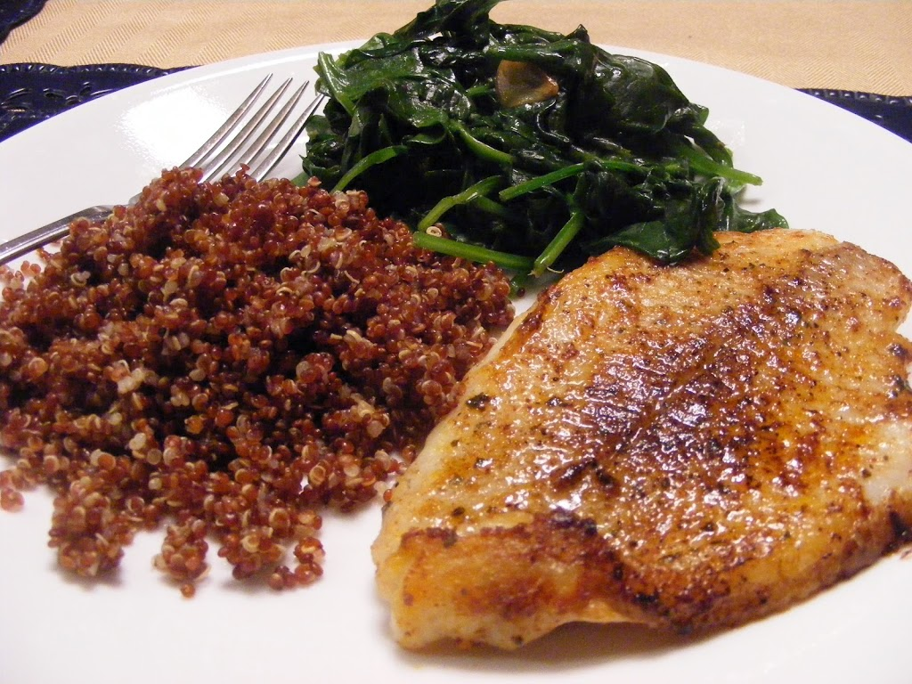 Pan-Fried Fish with Spinach and Quinoa