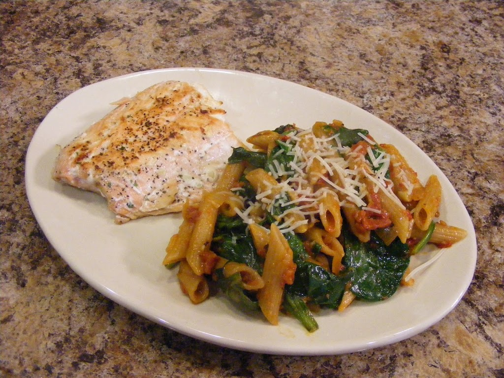 Salmon and Spinach Pasta Toss