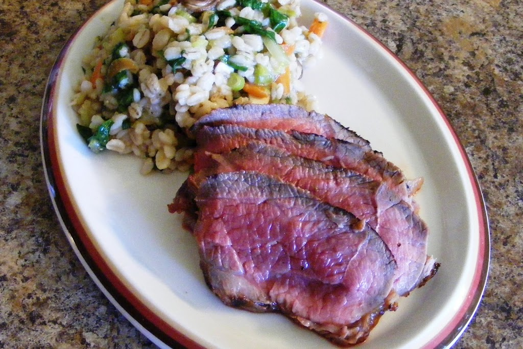 Grilled Sirloin Steak with Warm Barley-Spinach Salad