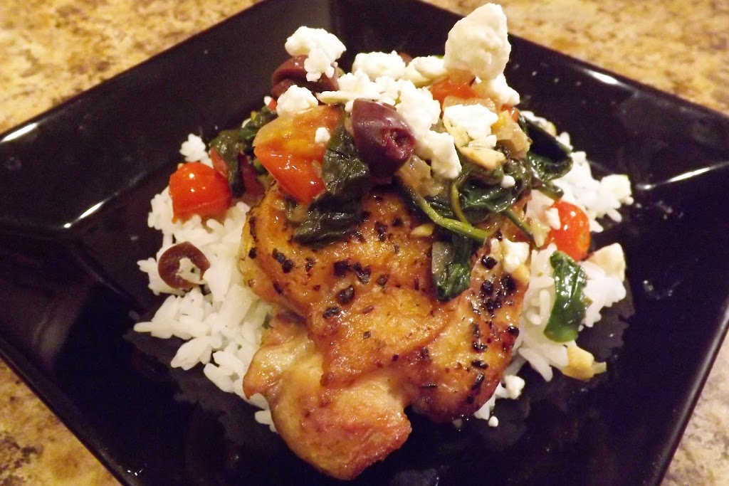 Tomato, Spinach and Feta Topped Chicken Thighs